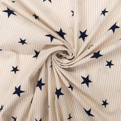Popeline de coton rayée beige et blanche motif étoile