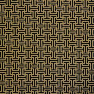 Jacquard noir et doré motif labyrinthe