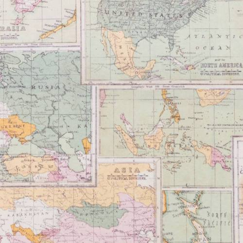 Toile coton pastel impression atlas