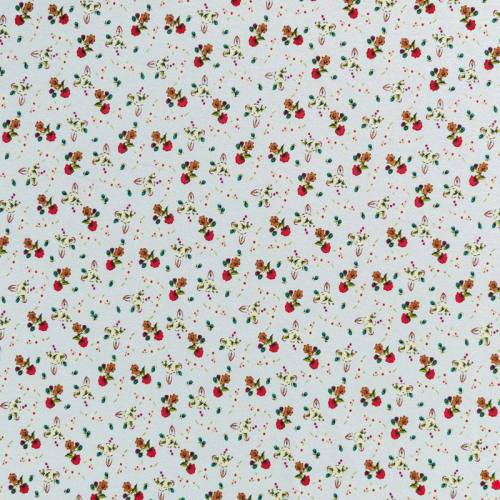 Tissu viscose bleu clair motif petite fleurs des champs