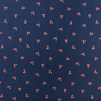 Coton bleu marine motif cerise