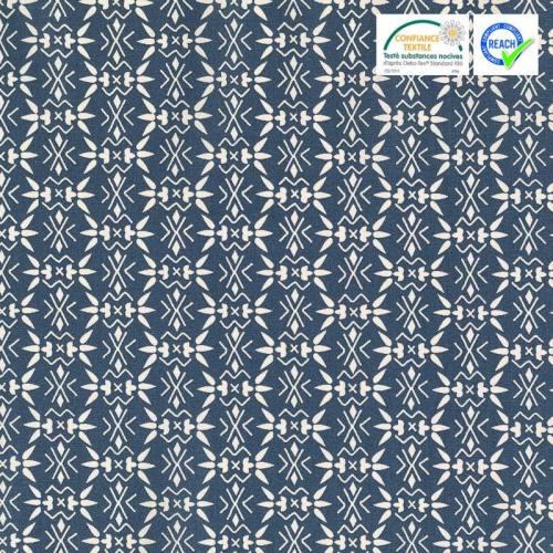 coupon - Coupon 49x50cm - Coton indigo motif bamisa blanc