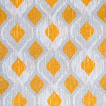 Toile polycoton grande largeur losange jaune, blanc et gris