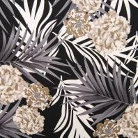 Tissu viscose lin imprimé feuille et hortensia