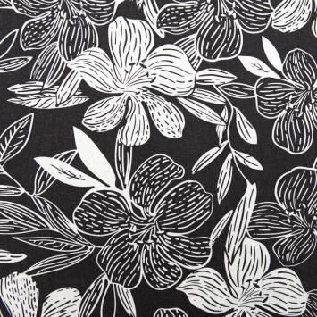 Tissu viscose lin gris foncé imprimé hibiscus