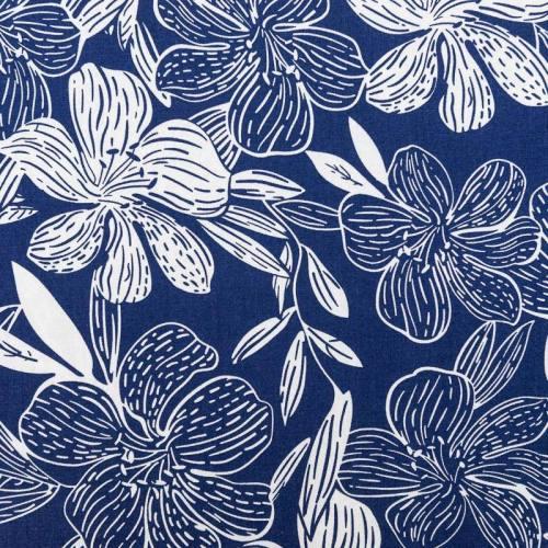 Tissu viscose lin bleu imprimé hibiscus