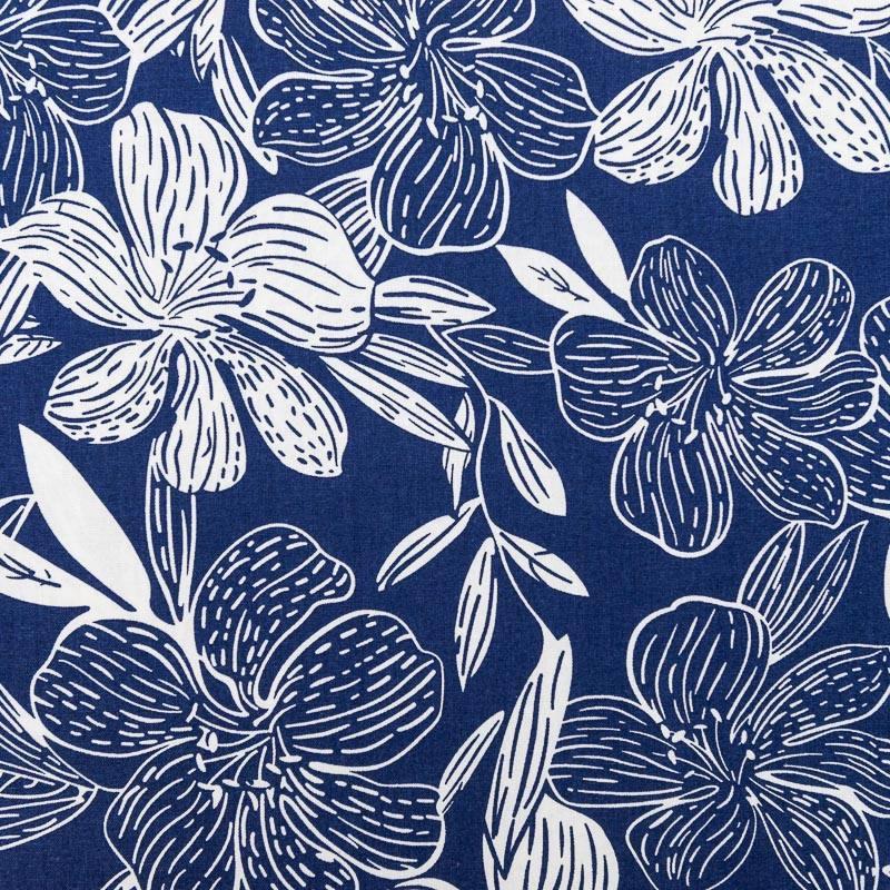 tissu viscose lin bleu imprim hibiscus. Black Bedroom Furniture Sets. Home Design Ideas