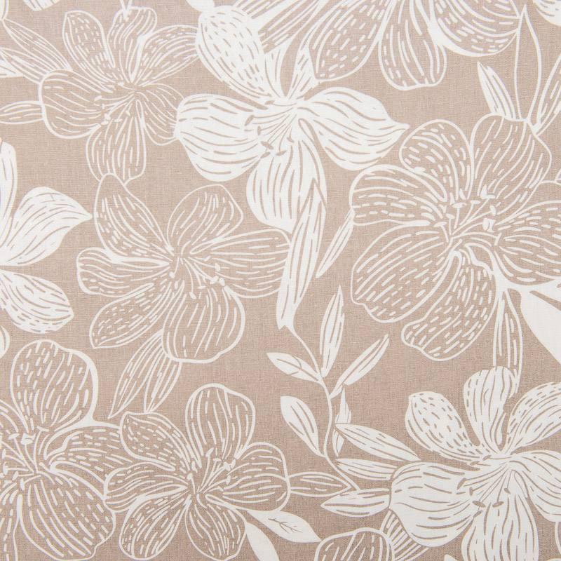 tissu viscose lin beige imprim hibiscus. Black Bedroom Furniture Sets. Home Design Ideas