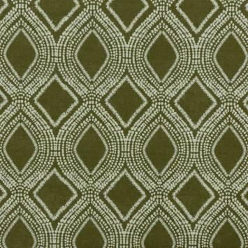 Toile polycoton aspect lin kaki motif losanges et points
