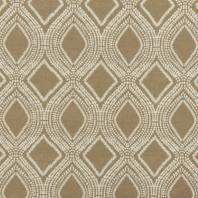 Toile polycoton aspect lin grège motif losanges et points
