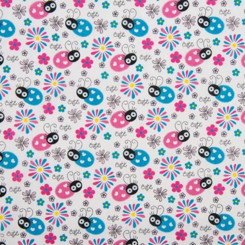 Polycoton blanc motif coccinelle et fleur