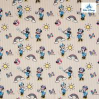 Coton Disney à rayures beige motif Minnie