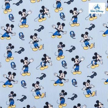 Coton Disney à rayures bleu motif Mickey