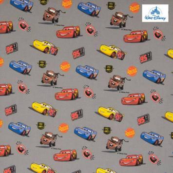 Coton Disney Pixar gris motif Cars
