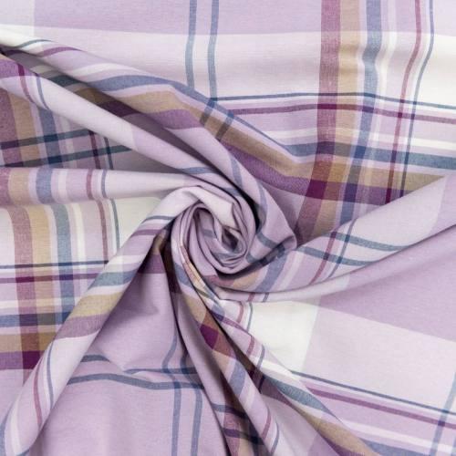 Toile polycoton violette grande largeur motif carreau