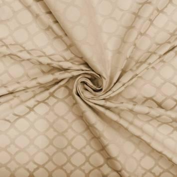 Jacquard satiné double face beige motif mosaïque