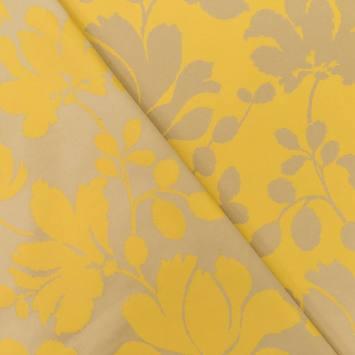 Jacquard satiné double face jaune motif feuillage