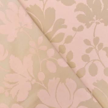 Jacquard satiné double face rose pastel motif feuillage