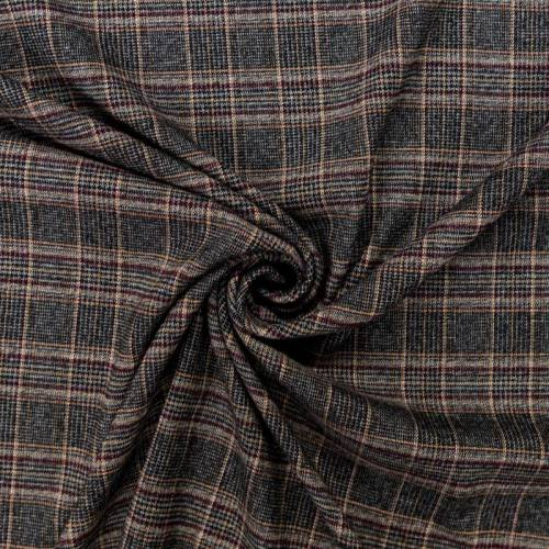 Tissu tartan stretch gris, beige et bordeaux
