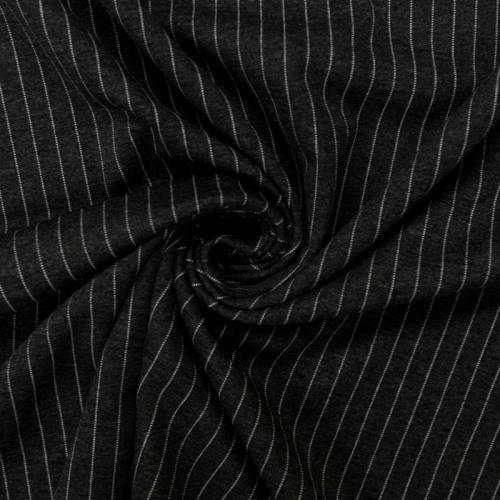 Punto milano noir motif rayure blanche