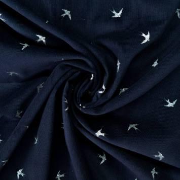 Velours côtelé bleu marine motif hirondelles pailletées