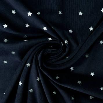 Velours côtelé bleu marine motif étoiles pailletées
