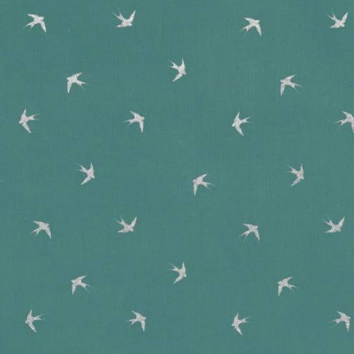Velours côtelé bleu givré motif hirondelles pailletées
