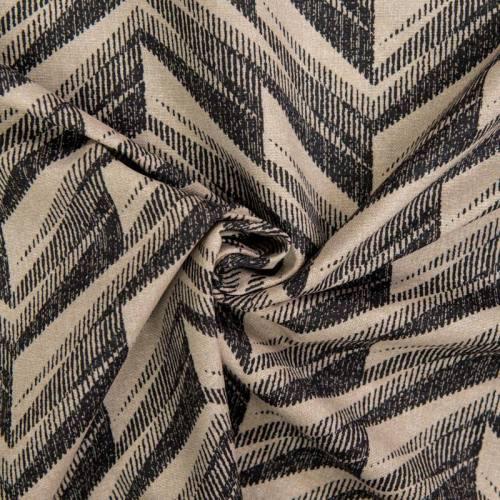 Toile polycoton grande largeur beige motif ethnique réglisse