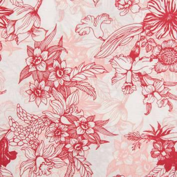 Toile polycoton grande largeur blanche motif fleurs rouges