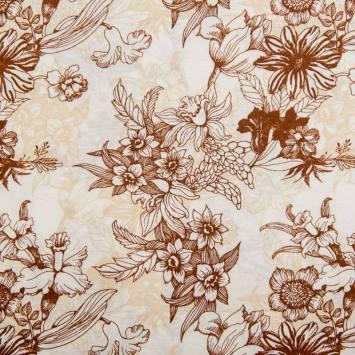 Toile polycoton grande largeur blanche motif fleurs marron