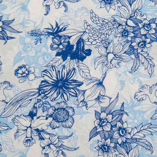 Toile polycoton grande largeur blanche motif fleurs bleues