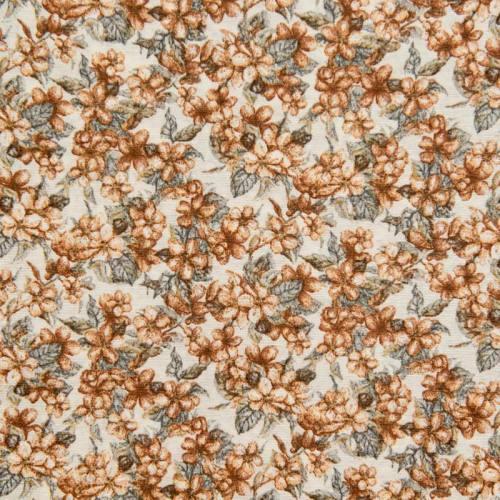 Toile polycoton grande largeur écrue motif fleurs de cerisier noisette