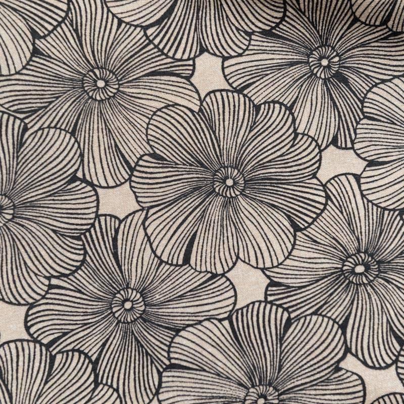 toile polycoton grande largeur beige motif fleur diva r glisse. Black Bedroom Furniture Sets. Home Design Ideas
