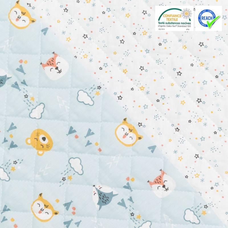 Tissu matelass enfant r versible motif nitoyis bleu - Tissu matelasse pour bebe ...