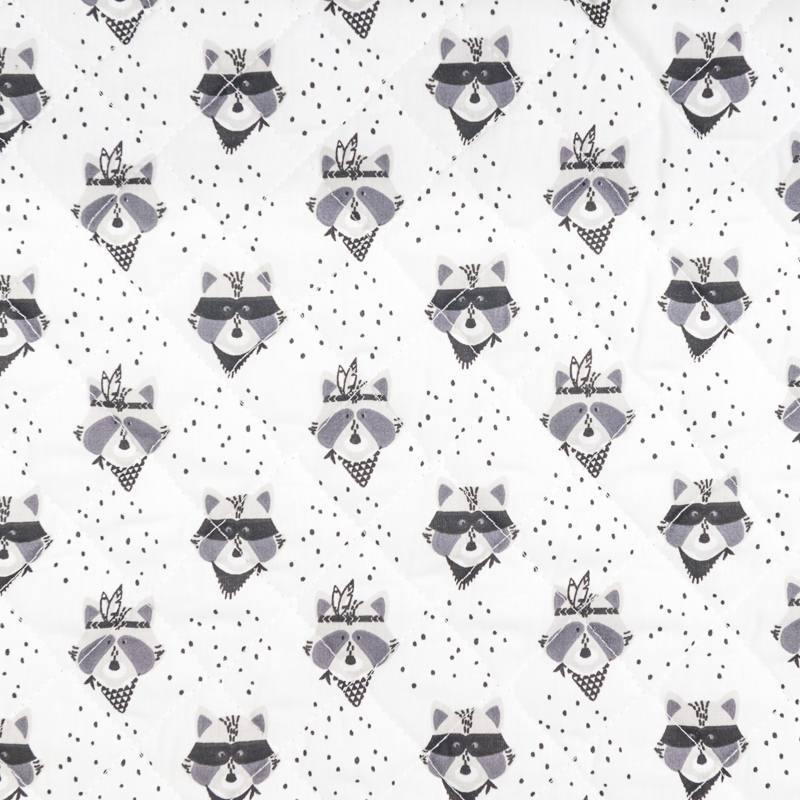 Tissu matelassé double face motif raton laveur gris
