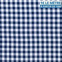 Toile polyester bleu marine motif vichy