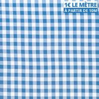 Toile polyester bleu clair motif vichy