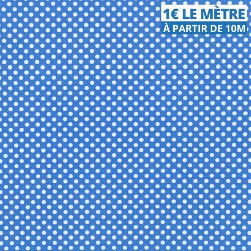Toile polyester bleu petit pois blanc