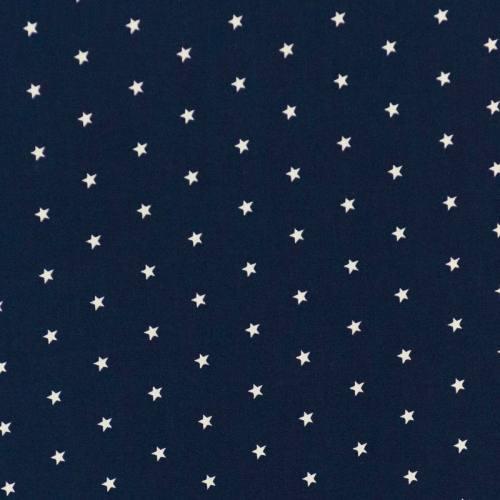 Coton bleu marine motif étoiles blanches