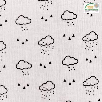 Double gaze gris clair motif nuage, pluie et triangle