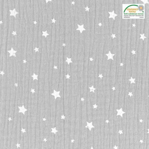 Double gaze gris clair motif étoile blanche