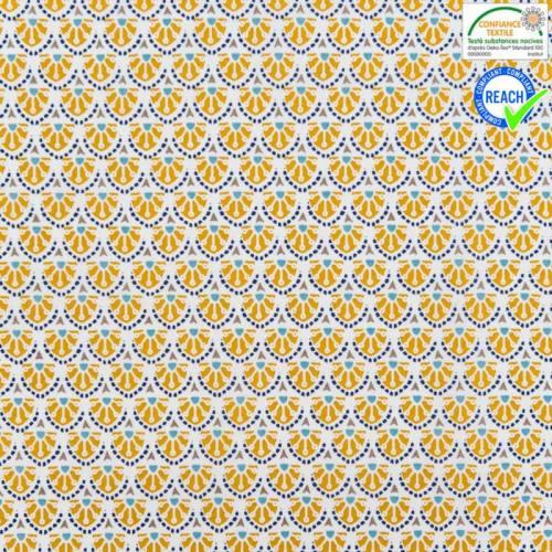 Coton blanc motif manco ocre