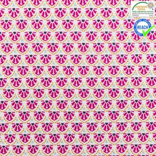 Coton blanc motif manco fuchsia