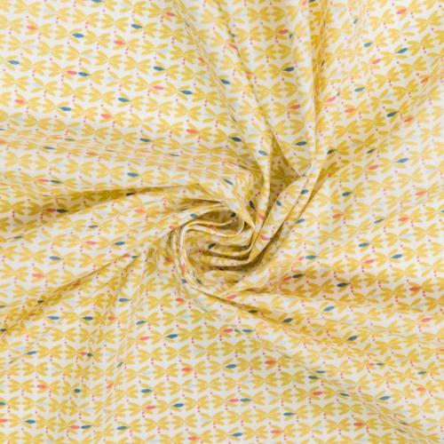Coton blanc motif bejart ocre