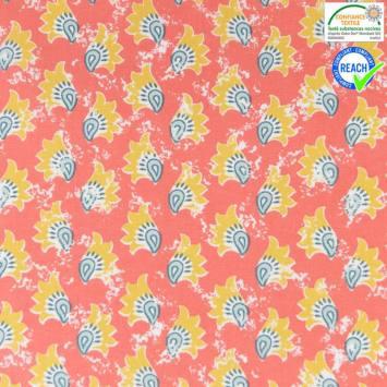 Coton corail motif khaja ocre et vert