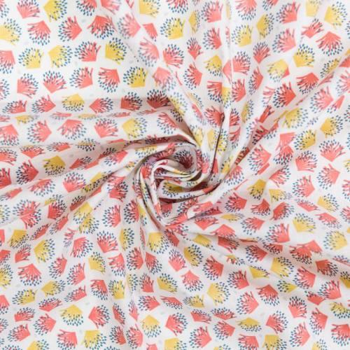 Coton blanc motif galix corail et ocre