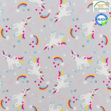 Coton gris clair motif licorne omma