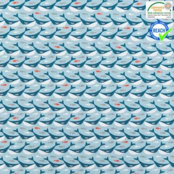 Coton bleu clair motif sonar bleu foncé