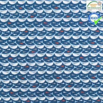 Coton bleu foncé motif sonar bleu clair
