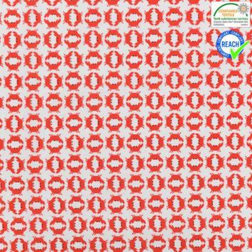 Coton blanc motif cramini rouge